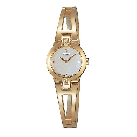 Seiko gold-plated diamond-set bangle watch