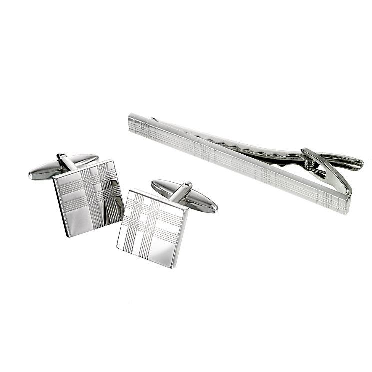 Tartan Design Cufflink & Tie Clip Set - Product number 5640954