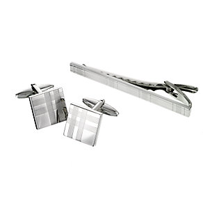 Tartan Design Cufflink & Tie Clip Set - Product number 5640954