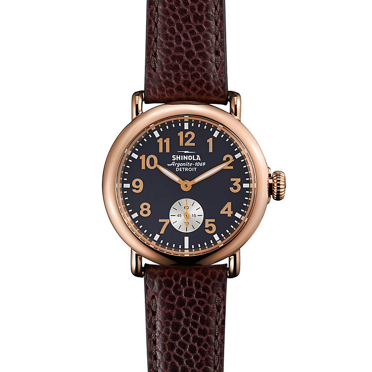 Shinola Runwell Ladies' Rose Gold Plated Strap Watch - Product number 5696402