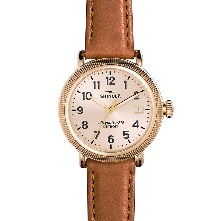 Shinola Runwell Ladies' Gold Plated Strap Watch - Product number 5696461