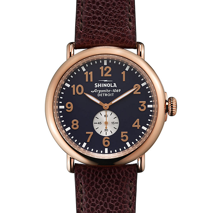 Shinola Runwell Men's Rose Gold Plated Strap Watch - Product number 5696844