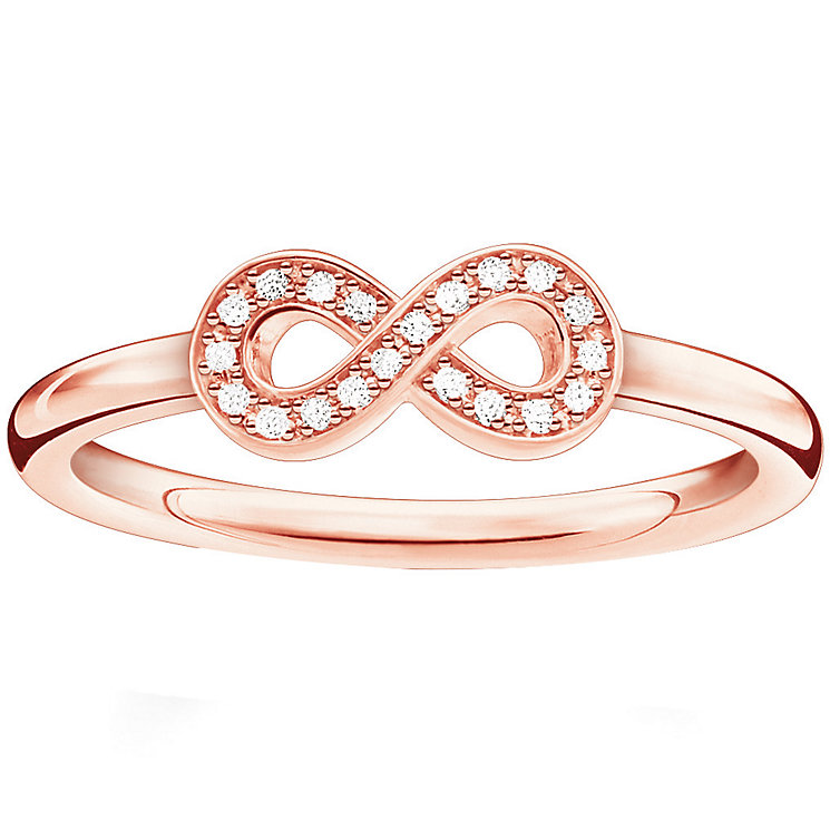 Thomas Sabo Rose Gold Plated Eternal Diamond  Ring Size M - Product number 5698146