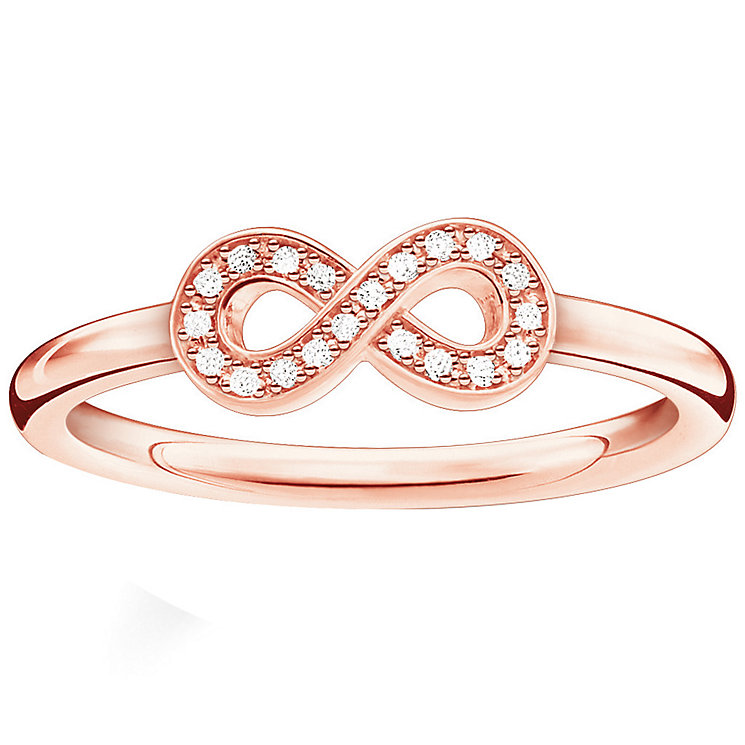 Thomas Sabo Rose Gold Plated Eternal Diamond Ring Size O - Product number 5698154