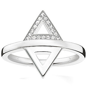 Thomas Sabo Sterling Silver Triangular Diamond Ring Size O - Product number 5698340
