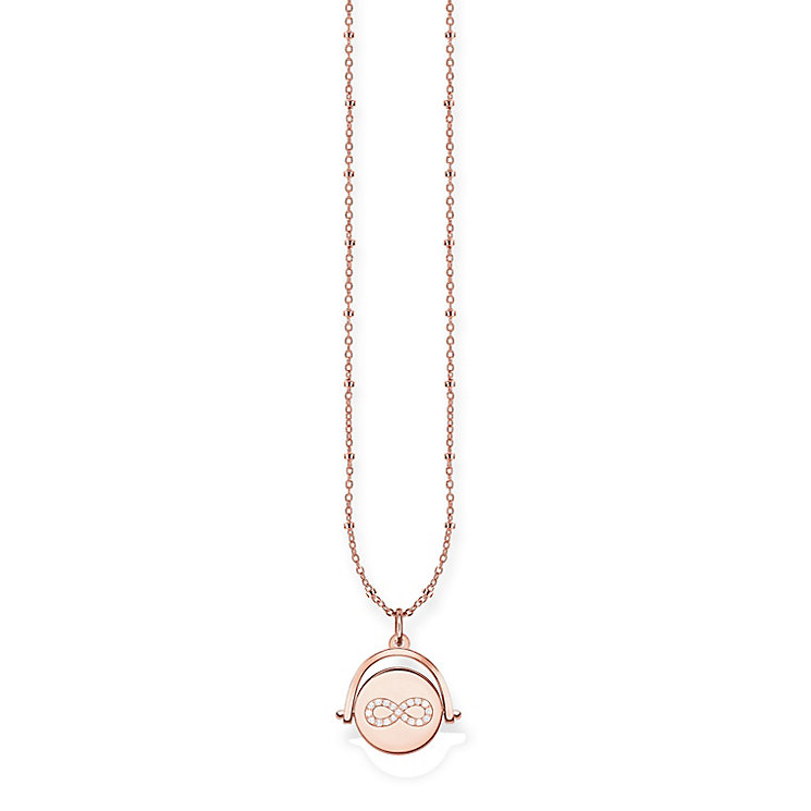 Thomas Sabo Rose Gold Plated Spinning Coin Diamond Necklace - Product number 5698723