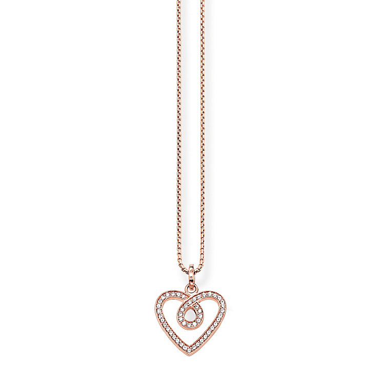 Thomas Sabo Rose Gold Plated Stone Set Heart Necklace - Product number 5698812
