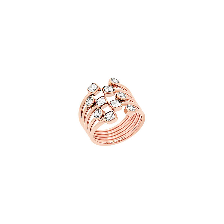 Michael Kors Rose Gold Tone Stone Set Ring Size N - Product number 5710693