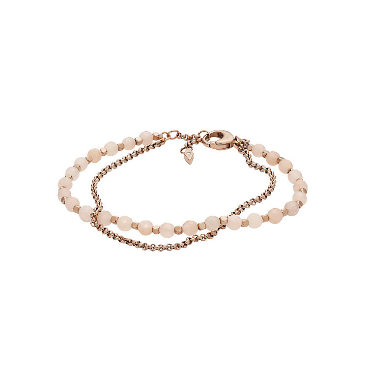 Fossil Rose Gold Tone Beaded Bracelet - Product number 5710898