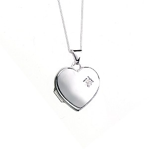 9ct White Gold Diamond Set Heart Locket and Necklace