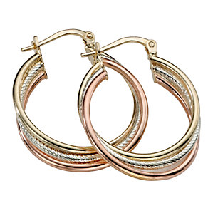 9ct Three Colour Gold Creole Hoop Earrings - Product number 5713773