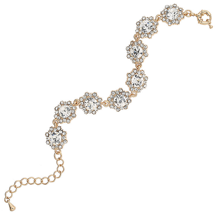 Mikey Gold Tone Daisy Crystal Set Link Bracelet - Product number 5715520