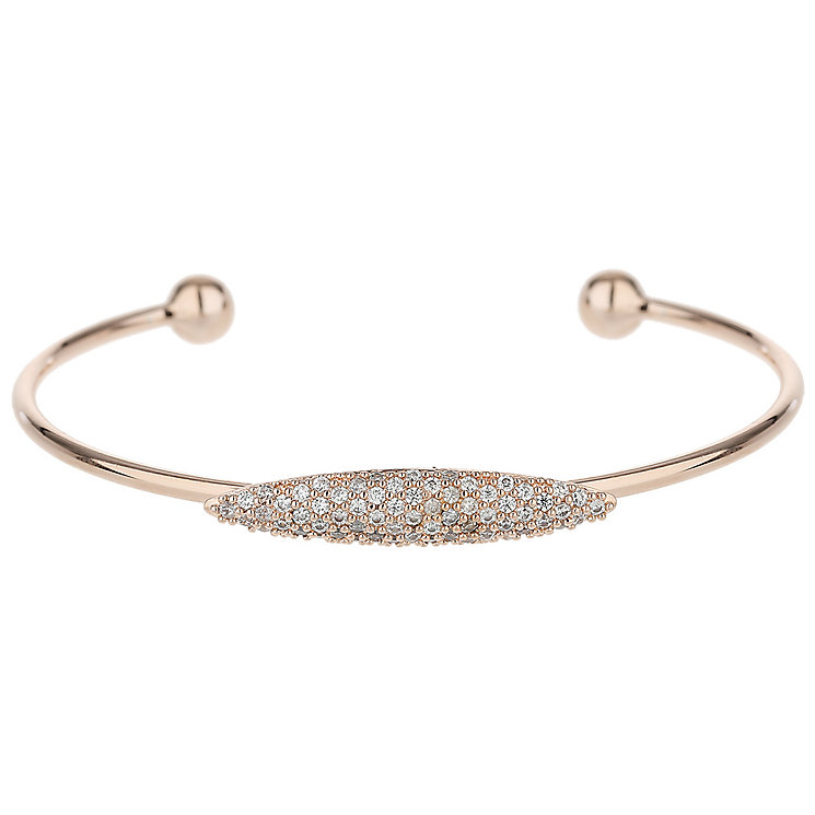 Mikey Rose Gold Tone Fine Cubic Zirconia Ellipse Bangle - Product number 5715768