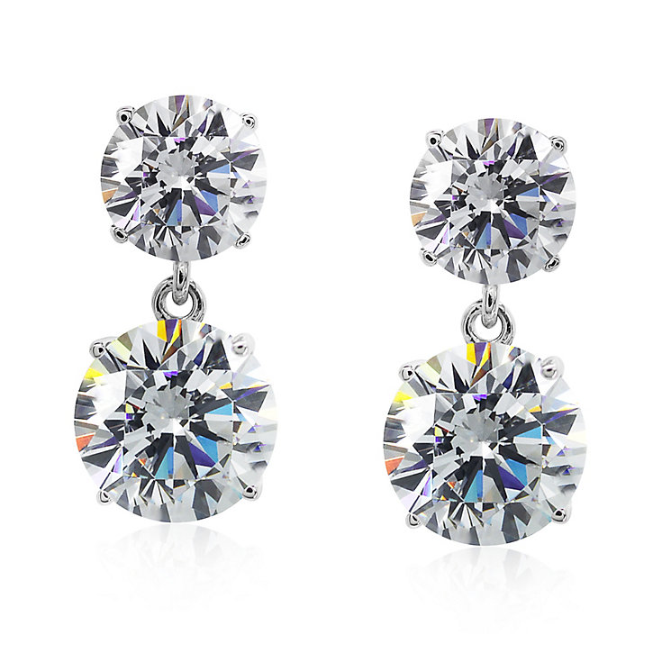 Carat 9ct White Gold Cubic Zirconia Double Drop Earrings - Product number 5715822