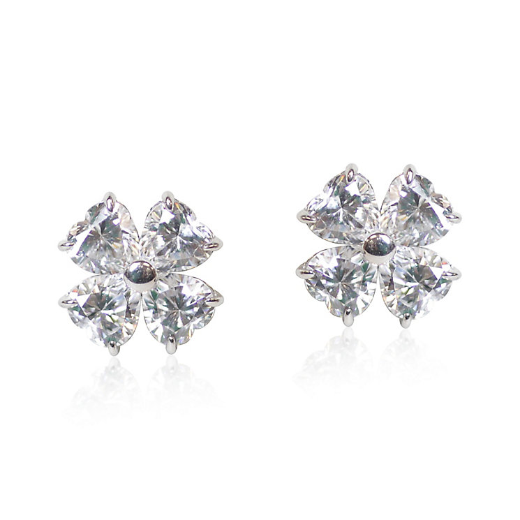 Carat 9ct White Gold Cubic Zirconia Petal Stud Earrings - Product number 5715830