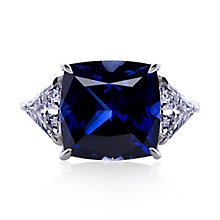 Carat 9ct White Gold Created Sapphire Trilogy Ring Size O - Product number 5715938