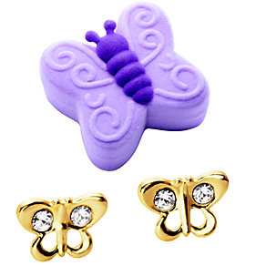 9ct Gold Crystal Butterfly Stud Earrings - Product number 5721717