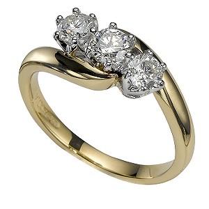 18ct Gold 3/4 Carat Three-Stone Diamond Ring