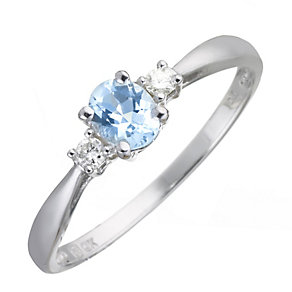 9ct White Gold Aquamarine and Diamond Ring - Product number 5741238