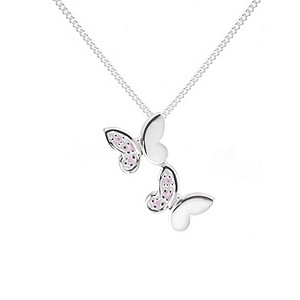 Silver Double Butterfly Pendant Necklace