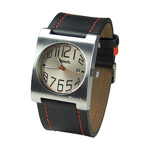 Men Black and Orange Leather Strap Watch