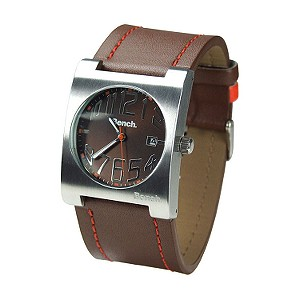 Men` Brown and Orange Leather Strap Watch
