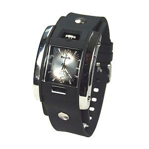 Men` Black Resin Cuff Watch