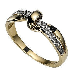 9ct Gold Diamond Knot Ring