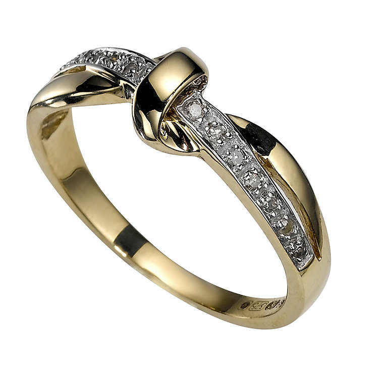 9ct Gold Diamond Knot Ring - Product number 5747368