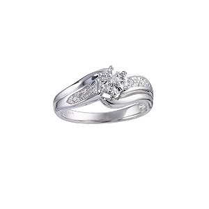 9ct White Gold Diamond Twist Ring