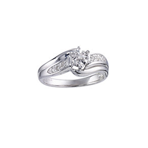 9ct White Gold Diamond Twist Ring - Product number 5748038