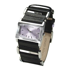 Ladies`Lilac Dial and Black Leather Strap Watch