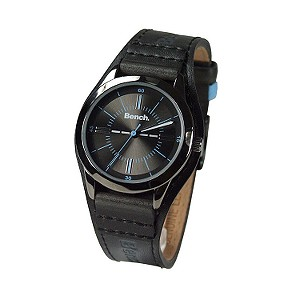 Ladies`Round Black Dial and Black Leather Cuff Watch