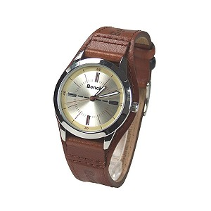 Ladies`Light Brown Leather Cuff Watch