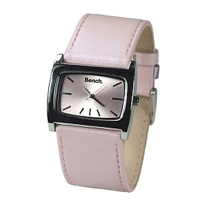 Ladies`Rectangular Pink Dial Leather Strap Watch