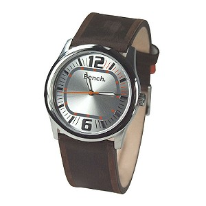 Ladies`Silver Dial and black Leather Strap Watch