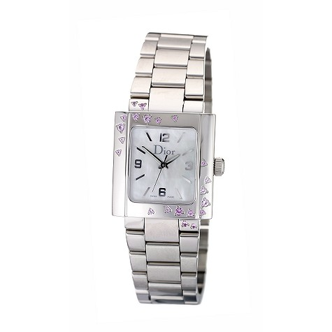Dior Riva ladies' mother of pearl and pink sapphire watch