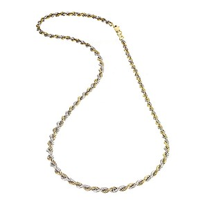 9ct two colour rope chain necklace