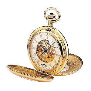 Rotary Gold Plated Skeleton Pocket Watch
