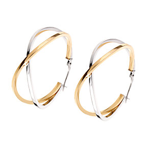 White and yellow gold creole earrings - Product number 5771285