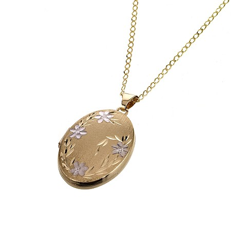9ct gold satin oval locket 26mm necklace