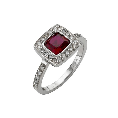 9ct white gold created ruby and diamond ring