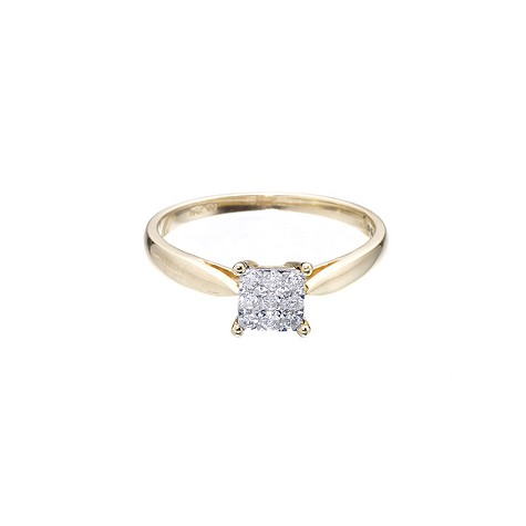 18ct two-colour gold diamond square cluster ring