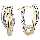 Oval double white and yellow gold hoop creole earringss - Product number 5777771