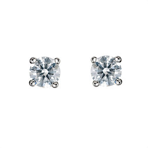 18ct white gold third carat diamond solitaire earrings - Product number 5778220