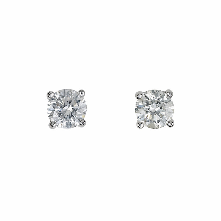 18ct white gold half carat diamond solitaire earrings - Product number 5778247