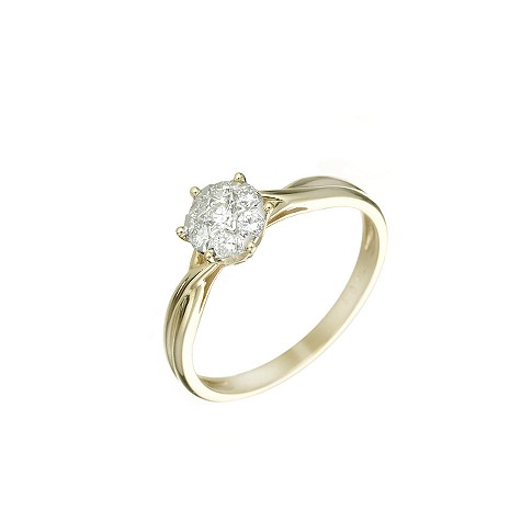 18ct two-colour gold 1/4ct diamond ring