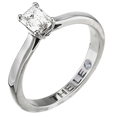Platinum half carat emerald cut Leo Diamond solitaire ring