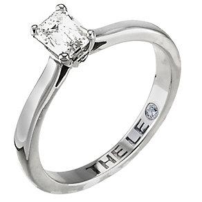 Platinum half carat emerald cut Leo Diamond solitaire ring - Product number 5787661