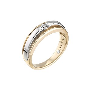 Men's 18ct two-colour gold 15 point Leo Diamond wedding ring - Product number 5788463